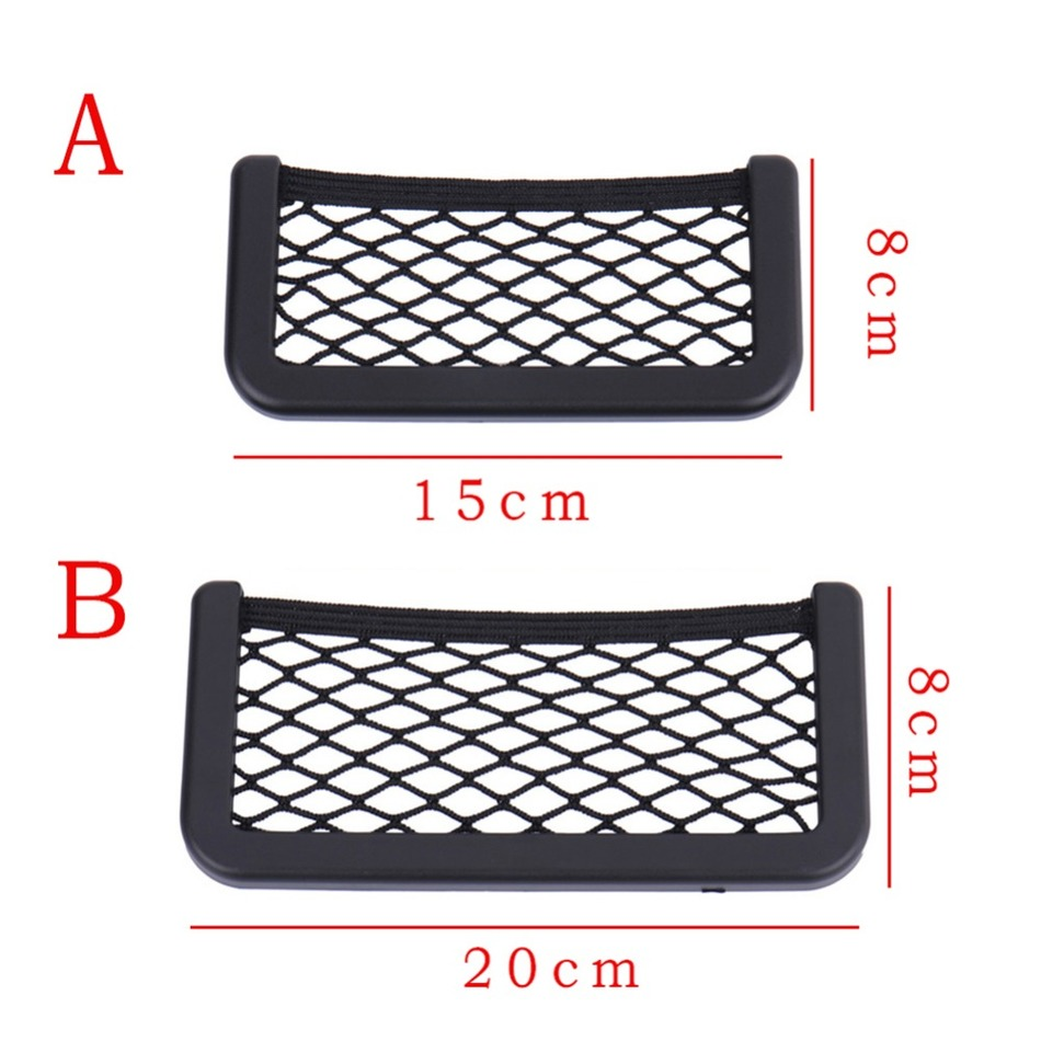 universal big 20 8cm black car seat side net storage bag pocket organizer phone holder adhesive. Black Bedroom Furniture Sets. Home Design Ideas
