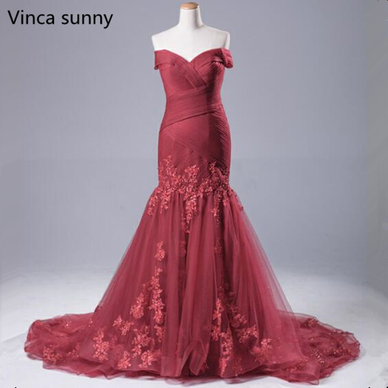 2019 Sexy Lace applique Mermaid   Prom     Dresses   long design Evening   Dress   Burgundy Amazing Party gown beading Evening gown