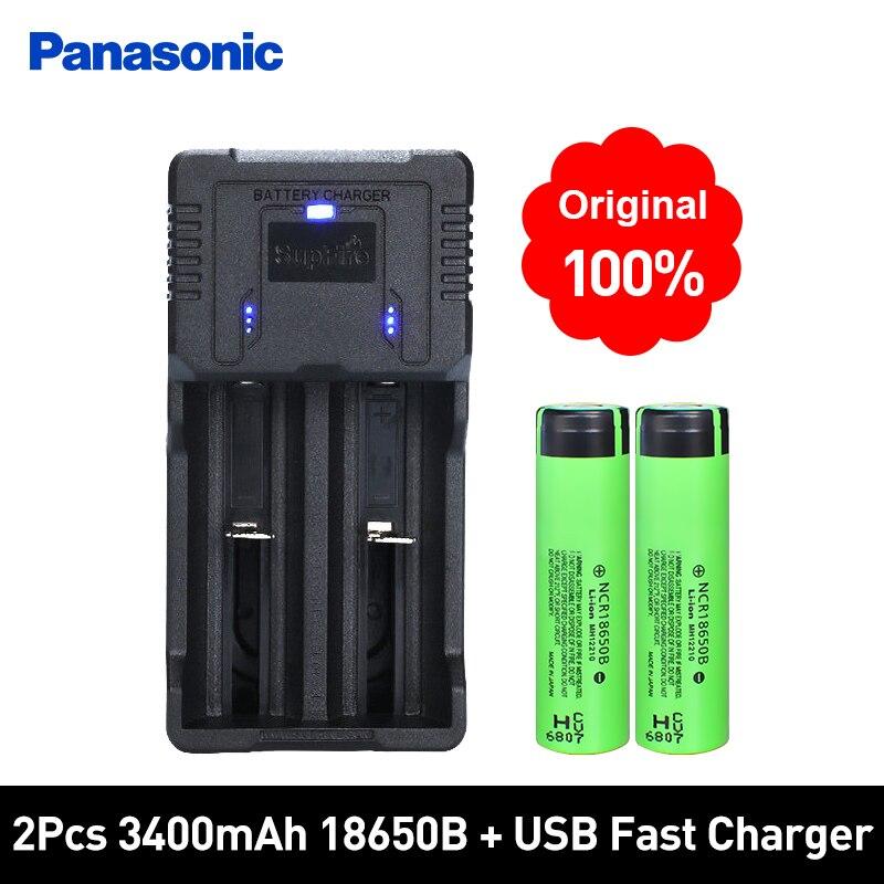 Panasonic 100% New Original NCR18650B 3.7 v 3400 mah 18650 Lithium Li-ion Rechargeable Batterie ET Chargeur Rapide Meilleure Qualité