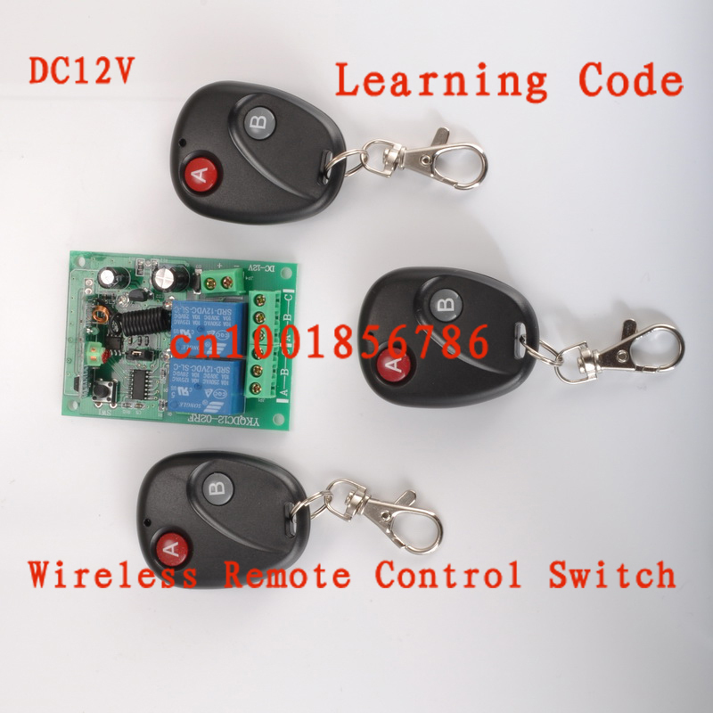 DC12V 2CH RF wireless remote control switch system 3 X Transmitter + 1 X Receiver Learning code 315/433MHZ remote switch 12v dc rf wireless 4 receiver 3 transmitter lighting digital switch learning code toggle momentary 315 433 92mhz