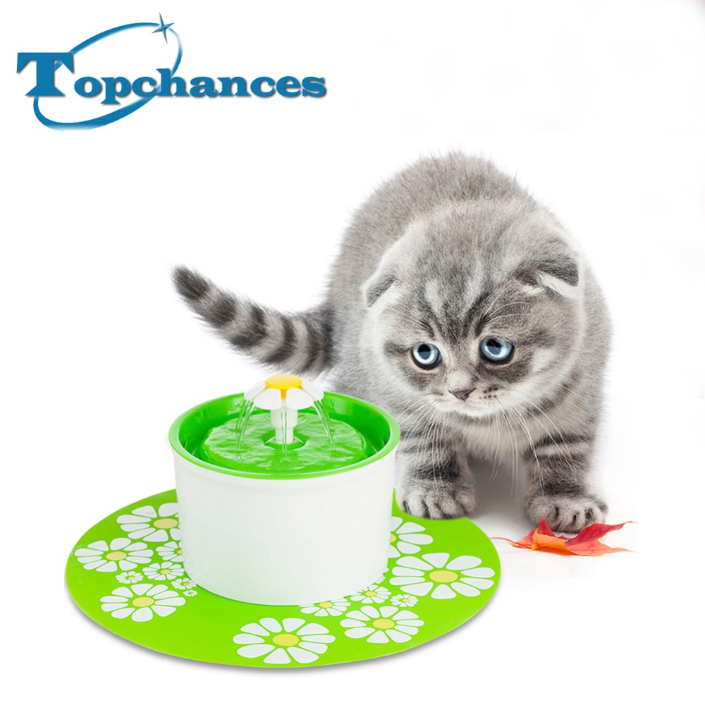Green Flower Sytle Automatic Electric 1.6 L Pet Water Fountain Dog/Cat/Bird Drinking Bowl With Corner Fit+ Mat bobo silicone pop up pet dog cat travel food bowl feeder green 350ml
