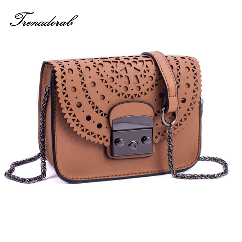 2017 New Women Bag Fashion Women Messenger Stud Bags Hollow Out Shoulder Bag High Quality PU
