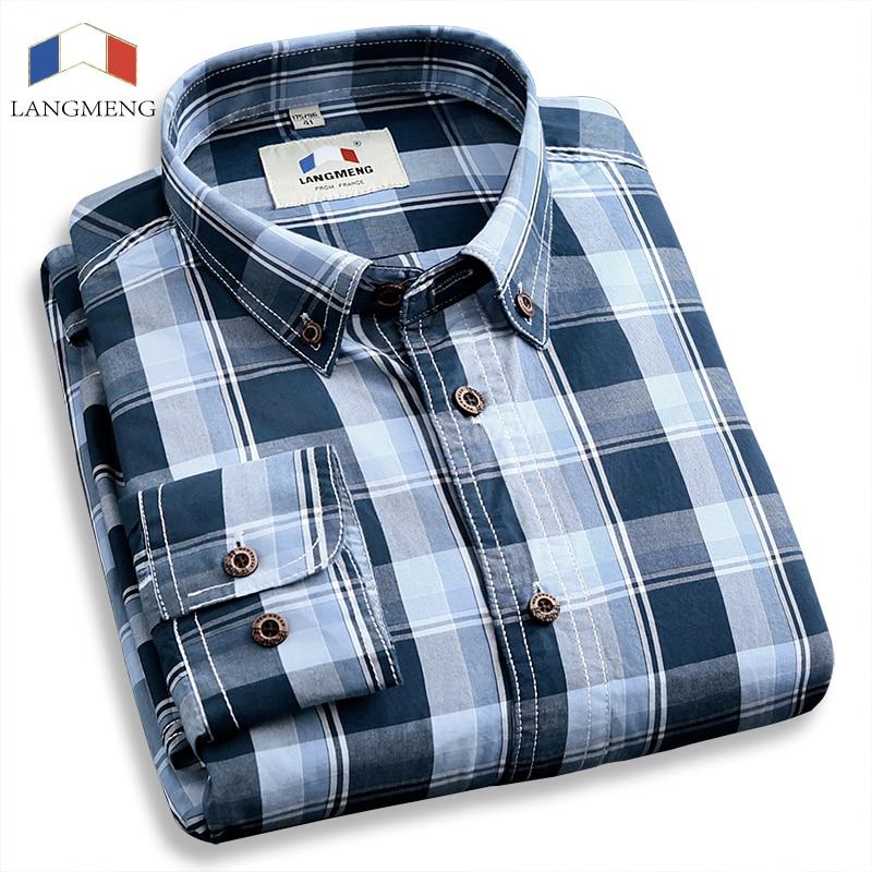 Langmeng Spring Autumn Mens Fashion 100% Cotton Brand Long Sleeve Plaid Shirts Male Retro Style Vintage Casual Shirt Men