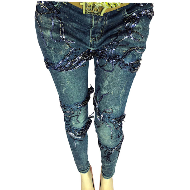 Stretch Skinny Jeans Femme Elastic Denim Jeans Woman Pencil Pants Skinny Long Pant With Sequined Tassel Slim Casual Trousers-in Jeans from Women's Clothing    3