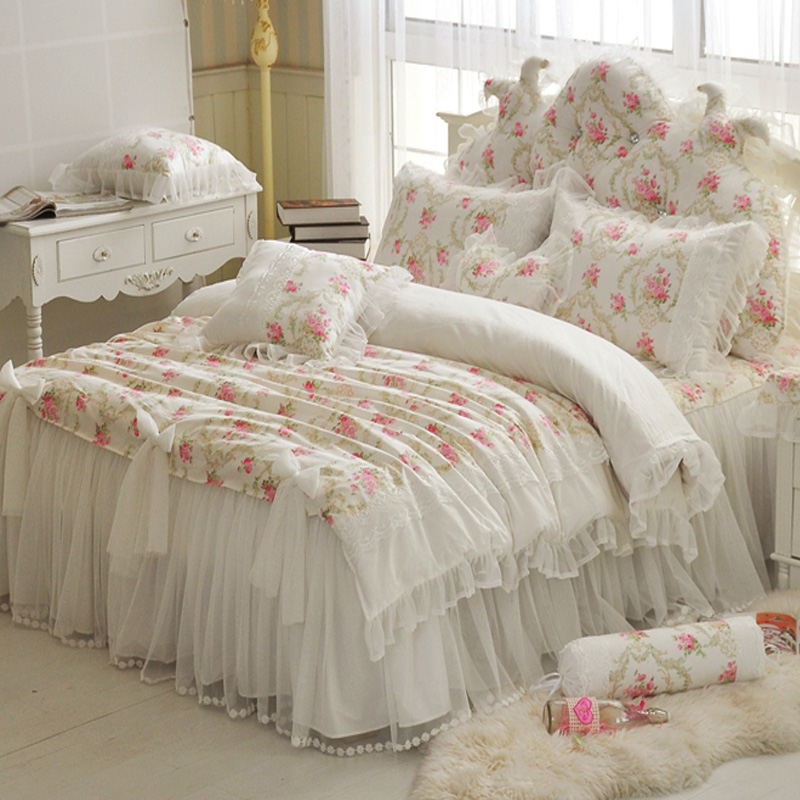 floral printing lace princess bedding set wedding twin full queen super king size bed set. Black Bedroom Furniture Sets. Home Design Ideas
