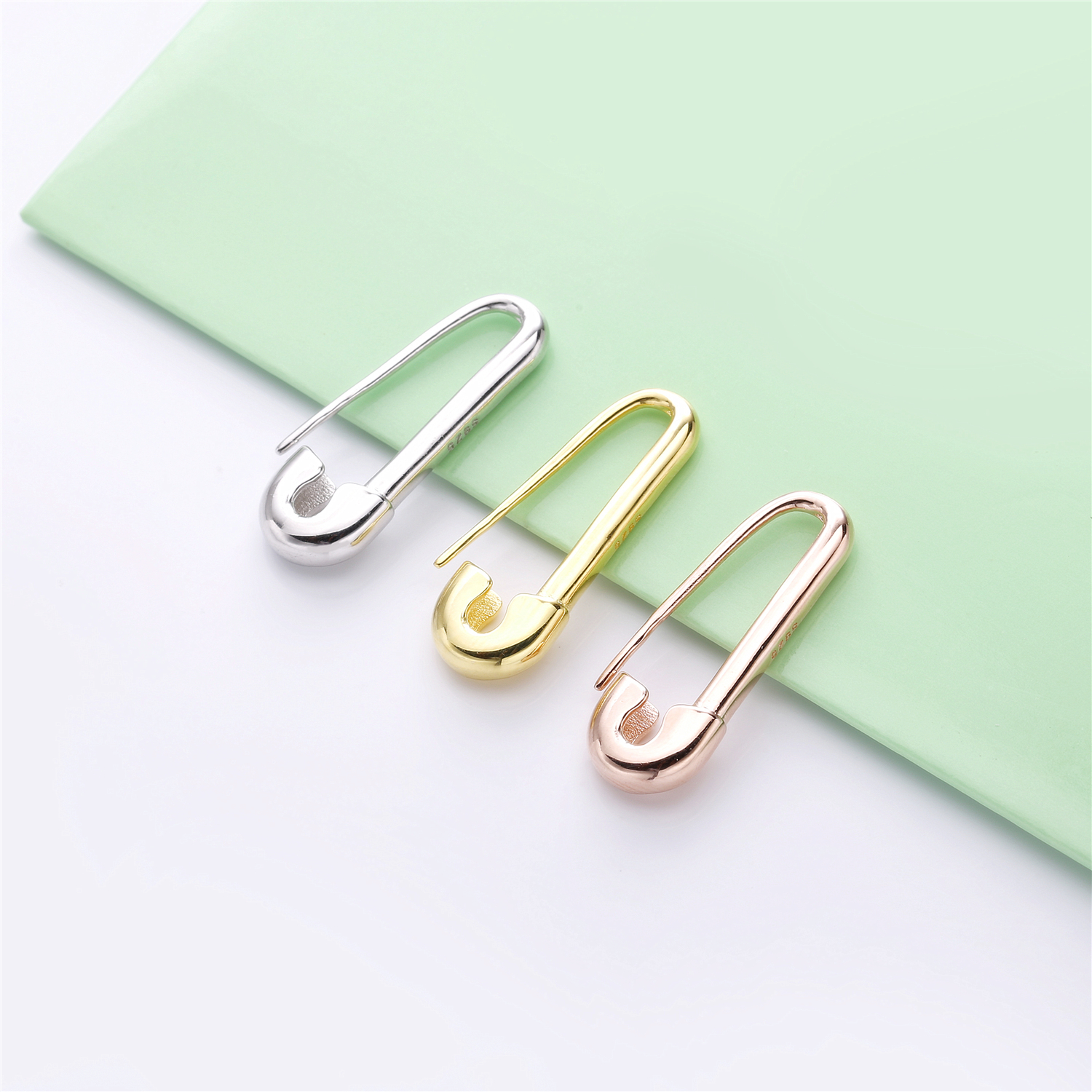 Moonmory 925 Sterling Silver Clips Safety Pin Single Ear Earring Left Right Both Punk Rock Fashionable For Women Wedding Jewelry in Drop Earrings from Jewelry Accessories