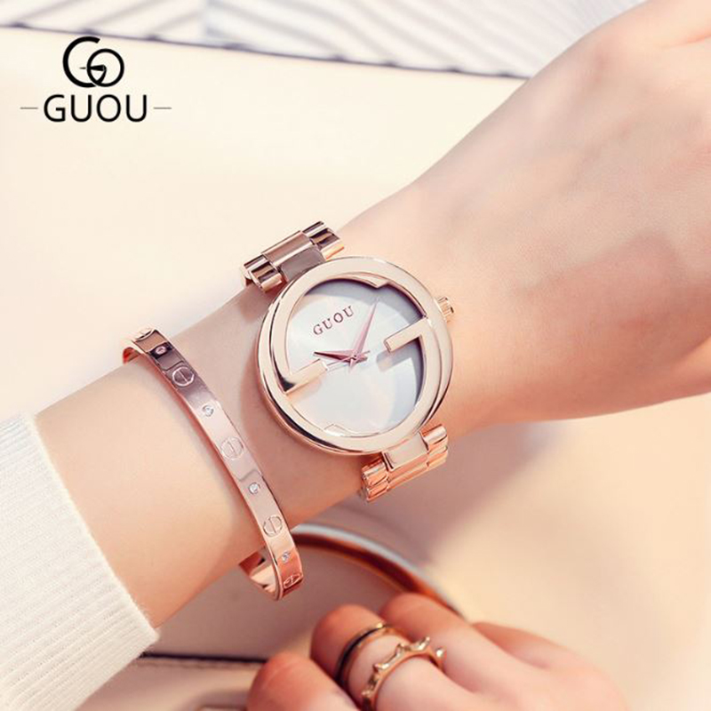 GUOU Luxury Rose Gold Women's Watches Fashion Stainless Steel Watchband Women Watches Clock saat relogio feminino reloj mujer