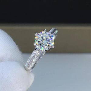 Image 2 - Round White Gold Moissanite Ring 1ct 6.50mm D VVS Luxury Moissanite Weding Ring for Women
