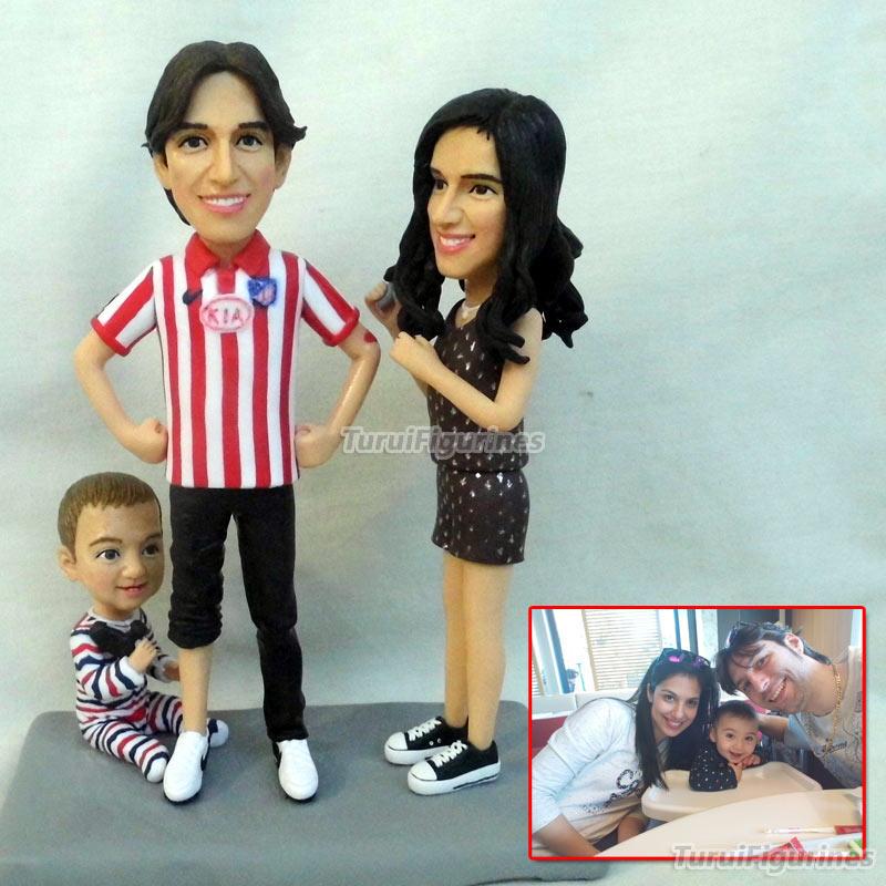 Family 3 People Figura Figurine For Wedding Anniversary Souvenir Home Decor Memorial Present Precious Moment Gift Handmade