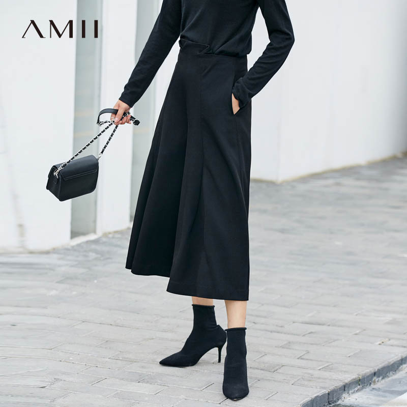 Amii Minimalist Women   Wide     Leg     Pants   Autumn 2019 Causal Solid Loose Zipper Fly Pockets High Waist Female Calf-Length   Pants