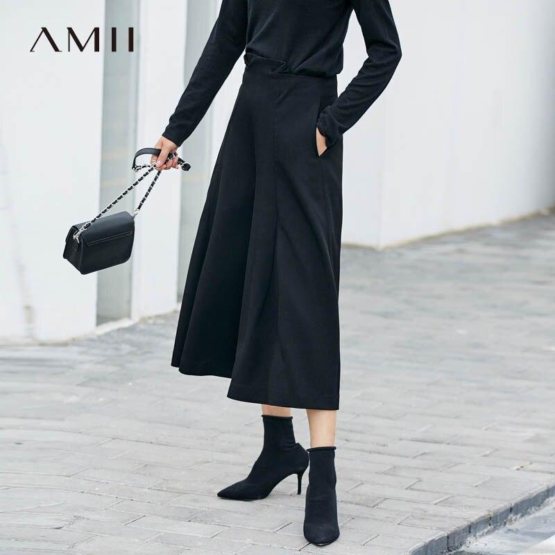 Amii minimalista mujeres ancho de la pierna Pantalones Otoño de 2019 Causal  sólido suelto cremallera bolsillos de cintura alta Mujer Calf-Length  pantalones 8201eb0fe5eb