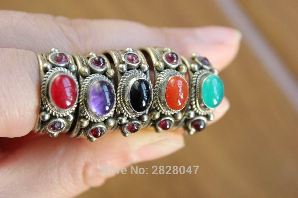 RG248 Nepalese Handmade Tibetan Copper Inlaid Colorful Beads Rings Vintage Onyx Women Open Back Rings Wholesale Nepal Ring