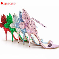 2017 New Style Designer Ankle Wrap Open Toe Solid Super High Bling High Heels Angel Wings