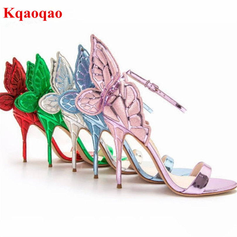 2018 New Designer Embroidered Metallic Leather Thin High Heels Bling Stiletto Angel Wings Sandals Shoes Women Sandals 6 Colors