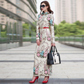 High Quality 2017 Designer Formal Winter Maxi Dresses Women Long Sleeve Jacquard Embroidery Floral Long Dress Plus Size S- XXXL