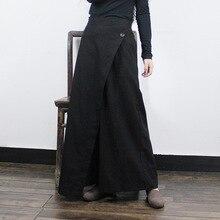 Модные женские брюки на одной пуговице с эластичной резинкой на талии и широкими штанинами из хлопка и льна, Свободные повседневные брюки с асимметричным вырезом и большим расклешенным подолом