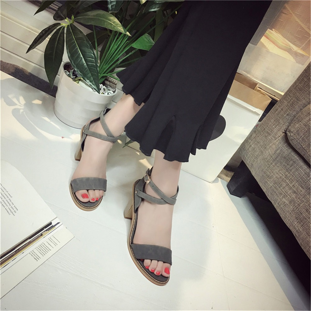 8a0a2fb03 2017 New Arrival Fashion Summer Women Shoes Lady Leisure Sandal Gladiator  Green All match Buckle Peep Toe Thick Heels Gray Flock-in Women s Sandals  from ...