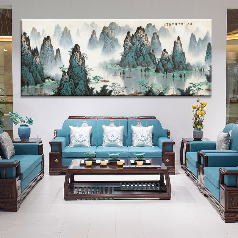 Us 6 48 41 Off Large Wall Art Canvas Prints Chinese Mountain And River Painting Picture Hall Living Room Decor Poster Print 4 In