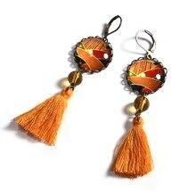 5c3541a5d Bohemian Vintage Tassel Pendant Orange Color Glass Cabochon Earrings  Creative Print Dangle Earrings Women Jewelry