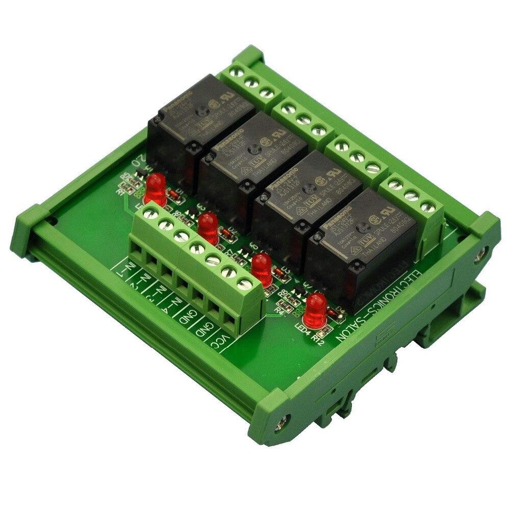 Module dinterface de relais de puissance SPDT 10Amp 4, Version DC 24 V.Module dinterface de relais de puissance SPDT 10Amp 4, Version DC 24 V.
