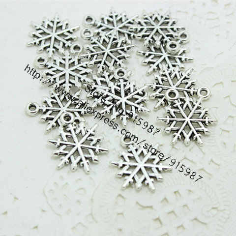 Sweet Bell 100pcs 16*20mm Vintage Silver Metal Alloy Mini Christmas Snowflake Charms Jewelry Makings Charms   D0337