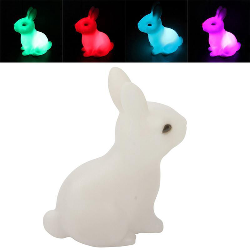 Cute Colorful Rabbit LED Night Light Home Decoration Night Lamp Lantern For Baby Sleeping Bedside Lamp Kids Children Toy Gift