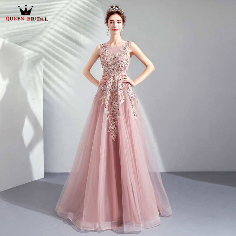 A line Tulle Lace Beading Appliques Pink Elegant Long Evening Dresses 2018 New Arrival Evening Gown