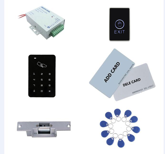 Access control kit,standalone access control+ power+ strike lock +exit button+2pcs manage card, 10 keyfob ID tags,sn:set-1 manage enterprise knowledge systematically