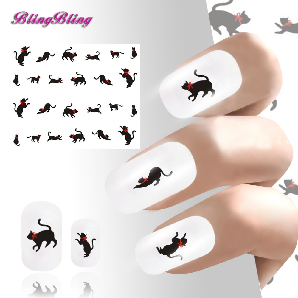 2PCS Black Cat Nail Stickers Water Transfer Nail Art Foil Cute Cats Design Nail Wrap Manicure Decal 24 styles For Nails skinbox silicone chrome border 4people чехол для xiaomi redmi 5a pink