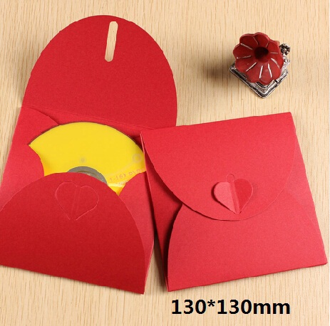 5PCS/lot Vintage Red Envelopes Romantic Heart Kraft Paper CD Optical Disc Paper Bag DIY Multifunction Card Bag 130*130mm