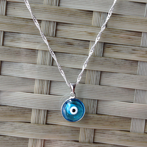 Turkish evil blue eye necklace 12mm crystal charm pendant light blue turkish evil blue eye necklace 12mm crystal charm pendant light blue nazar boncuk arabic islamic jewelry greek lucky in pendant necklaces from jewelry mozeypictures Images