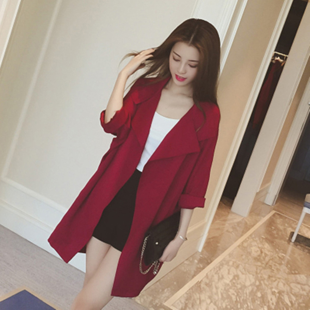 2018 New Trench Coat Women Autumn Casual Turn Down Collar Slim Cost 3 4  Sleeve Long Cardigans Outwear Plus Size 4X Women Clothes c27dd2093557