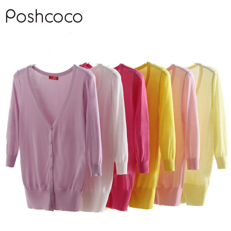 Poshcoco Candy Color Knitted Women Thin Cardigan Sweaters 2017 Summer  Casual Crochet V Neck Cardigans Sweater - Online Get Cheap Summer Cardigan Sweaters For Women -Aliexpress