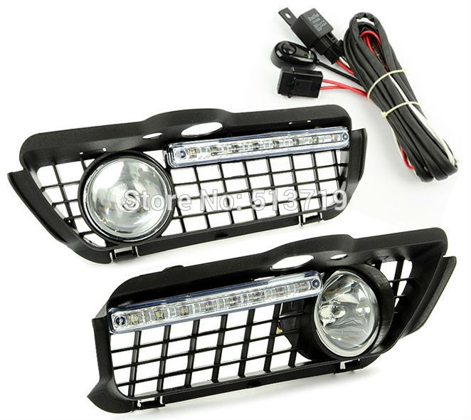 Fog Light Bumper Grille Led Daytime Running Lamp For 92-98 VW Jetta Golf Mk3 auto led car bumper grille drl daytime running light driving fog lamp source bulb for vw volkswagen golf mk4 1997 2006 2pcs
