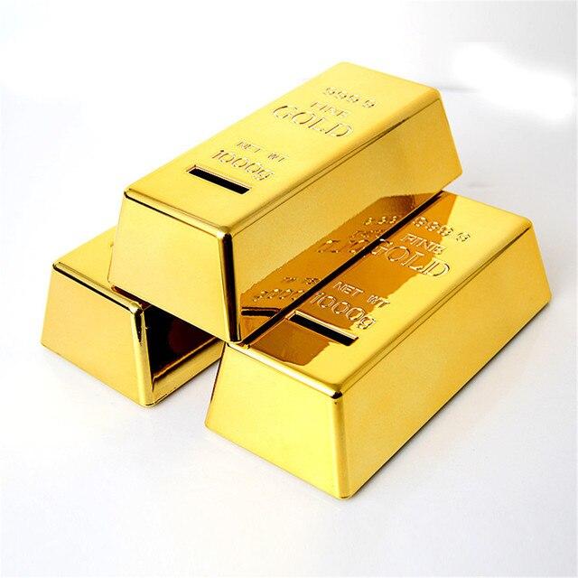 Excellent Luxury Vogue Unique Gold Bar Shape Piggy Bank Coin Penny Cent Money Cash Saving Safe
