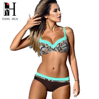 YANG HUA Russia Bikini 2018 Sexy Print Bikinis Set US Swimwear Push Up Biquini Female Brazilian