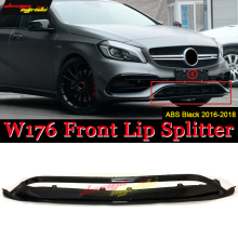 W176 Front Bumper Front Lip Splitter ABS Black Fits For Mercedes-Benz A-Class A180 A200 A250 A45 Look Front Lip Diffuser 2016-18 цена