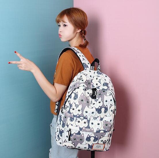 Для женщин милый рюкзак качество Для женщин рюкзак печати Рюкзаки для Обувь для девочек с рисунком кота школьная сумка forteenagers рюкзак женски...