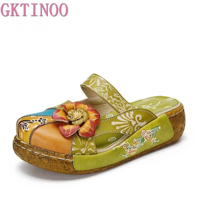 GKTINOO fleur pantoufles chaussures en cuir véritable à la main diapositives Flip Flop sur la plate-forme sabots pour femmes femme pantoufles grande taille