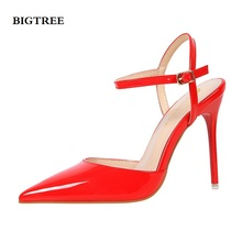 BIGTREE platform sandals women 2017 summer high heel Pointed sexy night shop was thin female red shoes woman silver