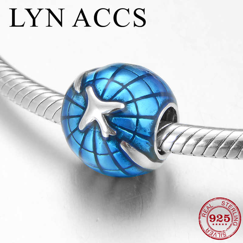 2019 Nova Terra e avião Azul Esmalte Beads Real 925 Sterling Silver DIY Bead Jewelry making Fit Original Charme Pandora pulseira
