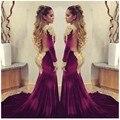 Vestidos de baile 2017 Sereia Borgonha Manga Comprida Dubai Kaftan de Ouro De Alta Pescoço Apliques De Veludo Sem Encosto À Noite Vestidos de Festa Vestido