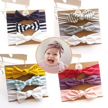 цена на 3Pcs Baby Headband Bow Elastic Hair Band Baby Girls Solid Headwear Children Turban Hair Accessories Set