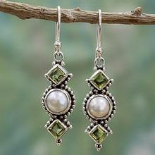BOAKO Thai Silver Drop Earrings Bohemian Style Pendientes Round Pearl Dangle Earrings For Women Ethnic Jewelry Wedding Earrings цены онлайн