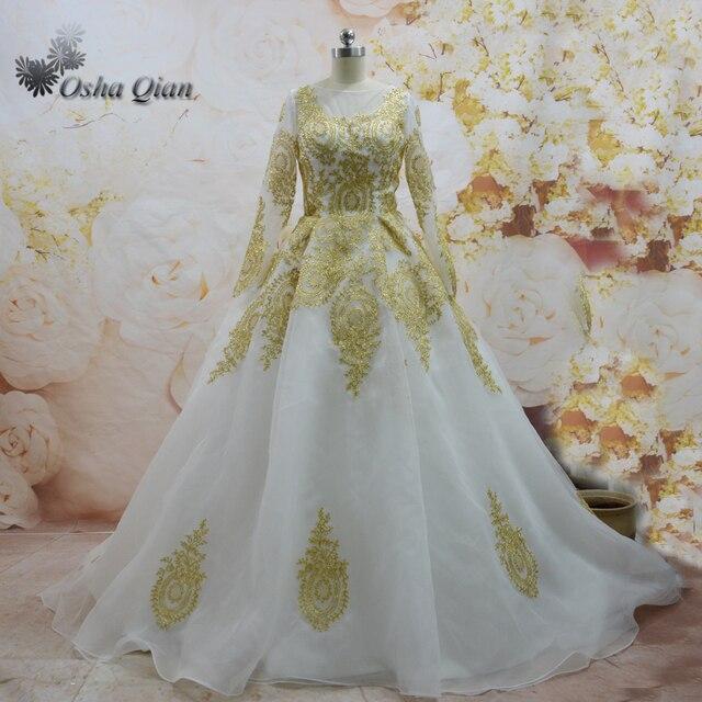 Modest Gold Hochzeitskleid Spitze Langarm Muslimischen Brautkleid ...
