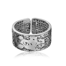 Hot Vintage Blessing Rings For Men 925 Sterling Silver Jewelry Trendy God Beast Ancient Coins Buddhist Scriptures Ring Man Gifts