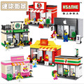 Single Sale Mini Street Scene Retail Store Shop Architecture With figures Building Blocks Sets Model Figures Toys