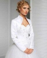 2017 New Bridal Satin Jacket Wrap Wedding Shrug Long Sleeve Elegant Wedding Gowns Bridal Accessories White