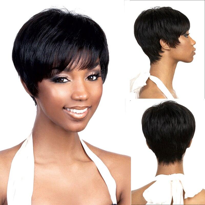 Coupe de lutin Court Noir Perruque De Cheveux pour les Femmes Noires Court Afro Américain ...
