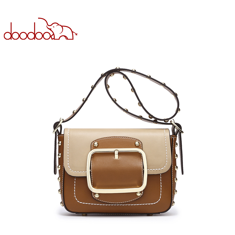 DOODOO Brand Women Messenger Bags Fashion PU Leather Shoulder Bag Crossbody Bags For Women Femme Rivet Flap Handbags sac a main dizhige brand lock women messenger bags flap crossbody bags women high quality pu leather shoulder bag ladies new sac femme 2017